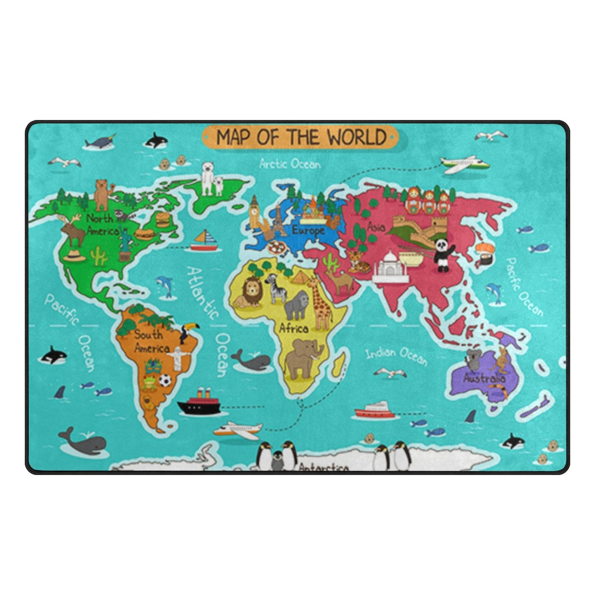 Cooper girl Animal Map of The World Area Rug Lightweight 60x39 Inches Indoor Outdoor Decorative Floor Rug for Children Play