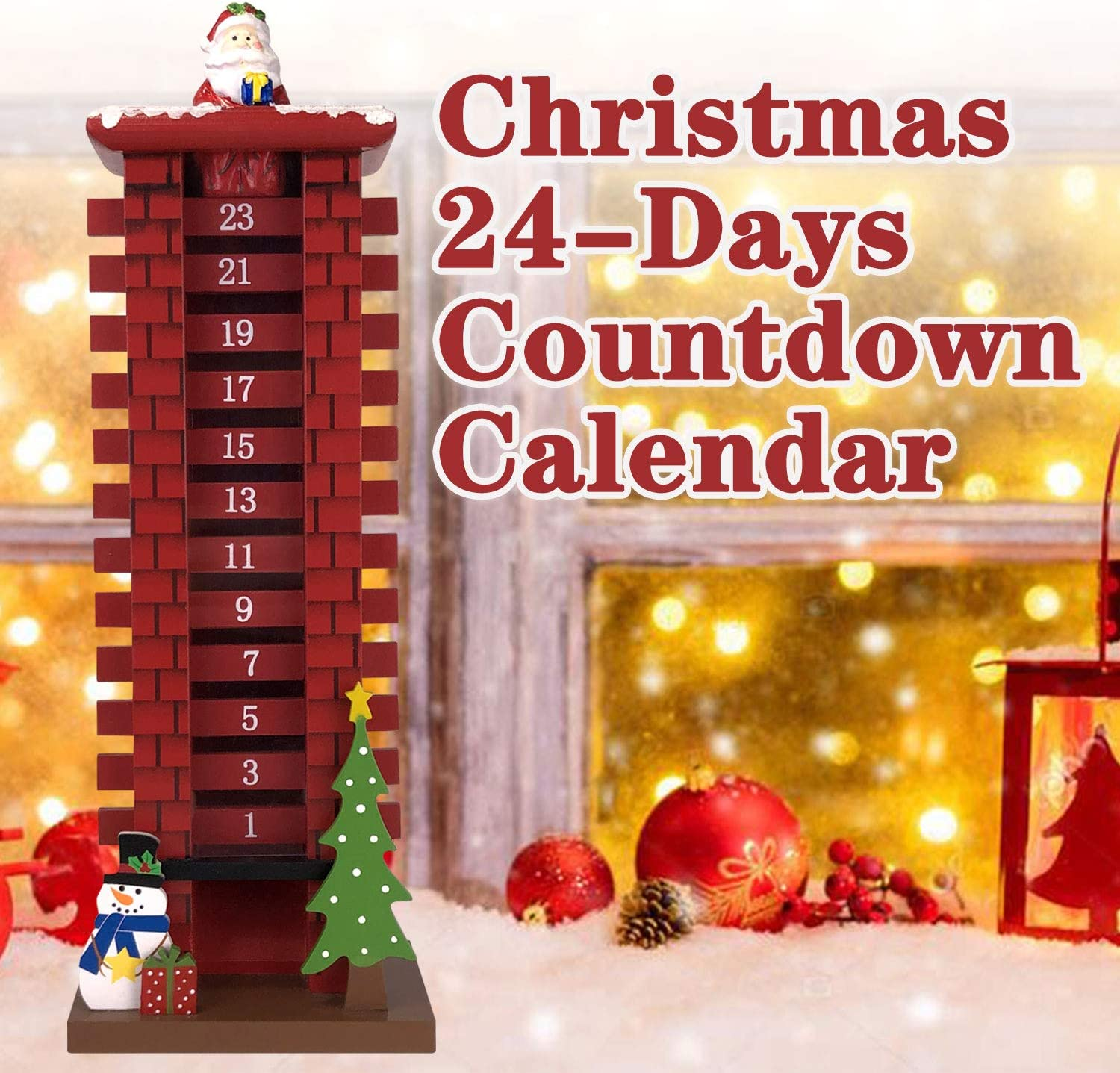 ALLADINBOX 16 Inch Wooden Advent Calendar with 24 Days Removable Boards Countdown to Christmas Santa Claus for Christmas Decoration