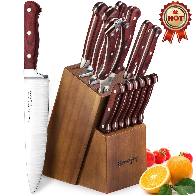 Amazon.com: Emojoy Juego de cuchillos de cocina con bloque ...