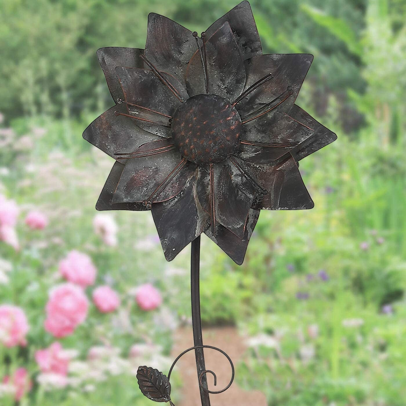 "Brogan 11"" W Large Metal Flower Garden Stakes, Decorative Outdoor Lawn Yard Patio Floral Stake Art, Butterfly and Leaves Detailed (Washed Finished) 57"" H"