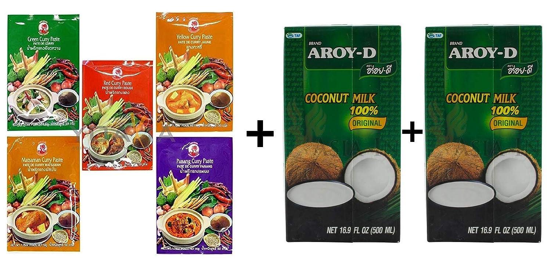 Cock Curry Pastas por 50g + 1L de Aroy-D Leche de Coco: Amazon.es: Alimentación y bebidas