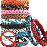 Mosquito Bnads Mosquito Repellent Bracelet 12 Pack Reusable Leather Adjustable Long Time Mosquito Repellent Natural Ingredient (Leather)