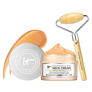 IT Cosmetics Smooth & Tighten Set - Includes Confidence in a Neck Cream (2.6 oz) & Heavenly Luxe Face & Neck Citrine Roller