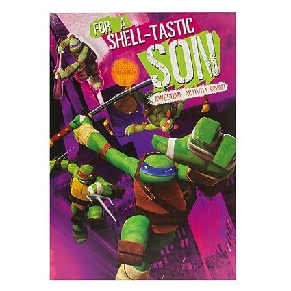 Hallmark - Tarjeta de felicitación de cumpleaños para hijo (tamaño mediano, incluye etiqueta de Donatello para colgar), diseño de las Tortugas Ninja ...