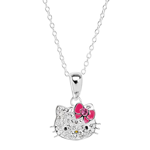 Amazon hello kitty pendant necklace with crystals in sterling hello kitty pendant necklace with crystals in sterling silver aloadofball Choice Image