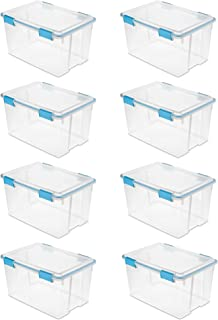 product image for Sterilite 54 Quart Gasket Box in Clear with Blue Latches, 8 Pack | 19344304