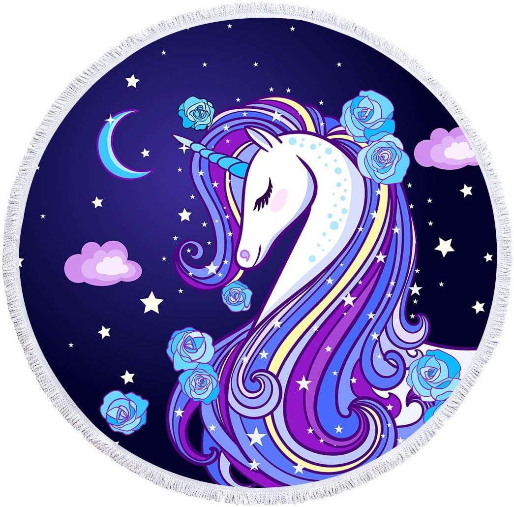 Arightex Purple Unicorn Circle Beach Towel Stars Moon Round Yoga Carpet Microfiber Terry Beach Roundie for Bath Pool 60