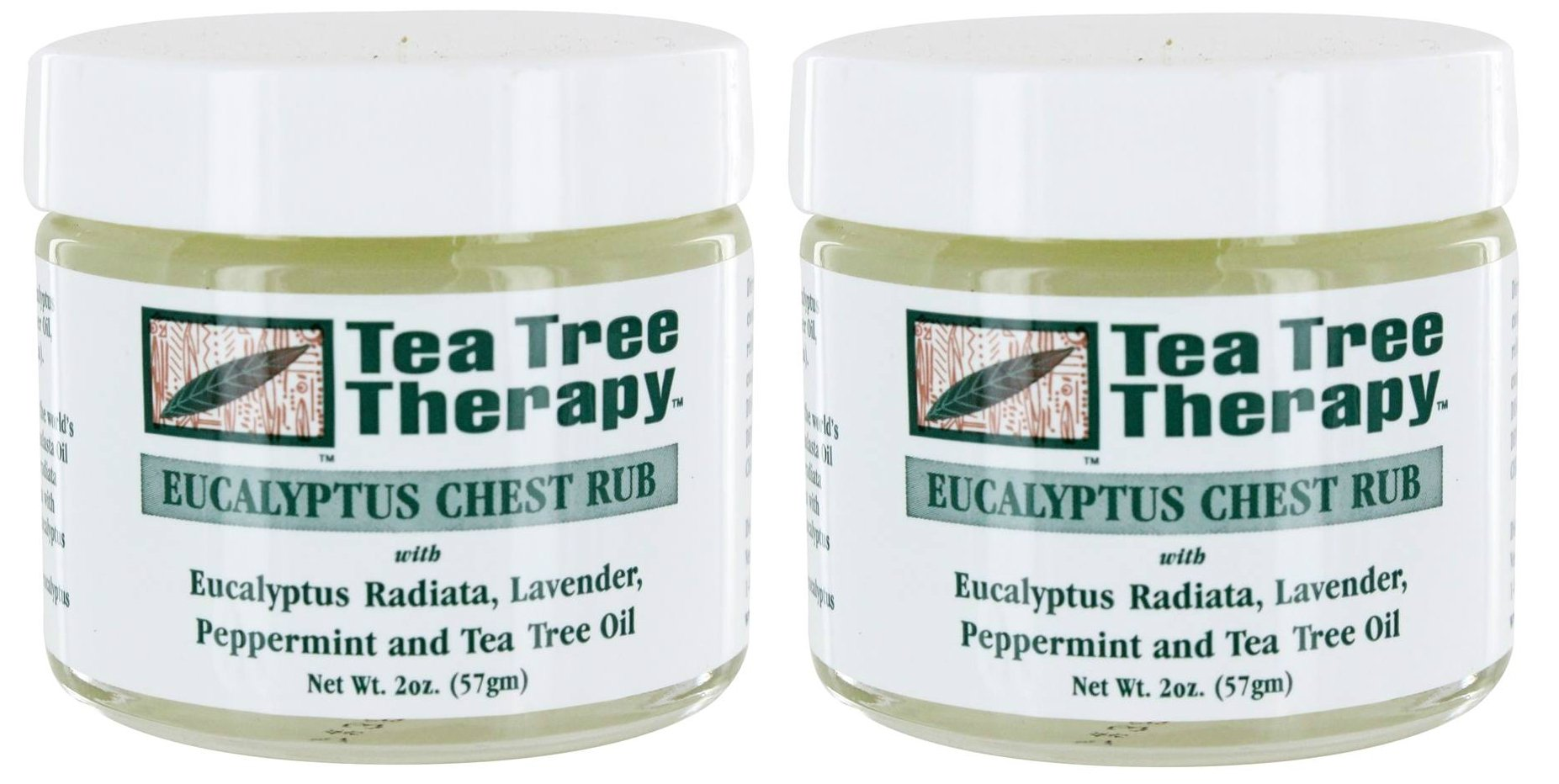 Tea Tree Therapy Eucalyptus Chest Rub (Pack of 2) with Tea Tree Oil, Beeswax, and Eucalyptus Oil, 2 oz. by Tea Tree Therapy