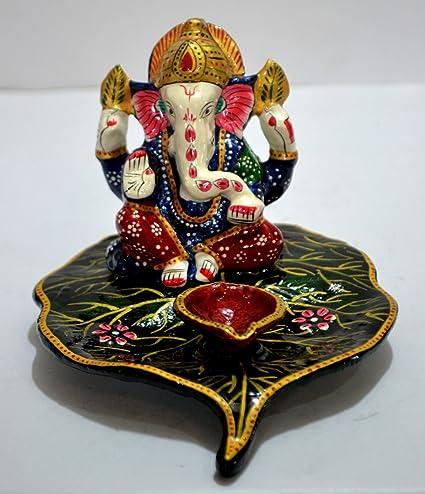 CraftVatika Unique Diwali Lamp God Ganesha Statue  Decorative Xmas Diya  Holder  Indian God Ganesh
