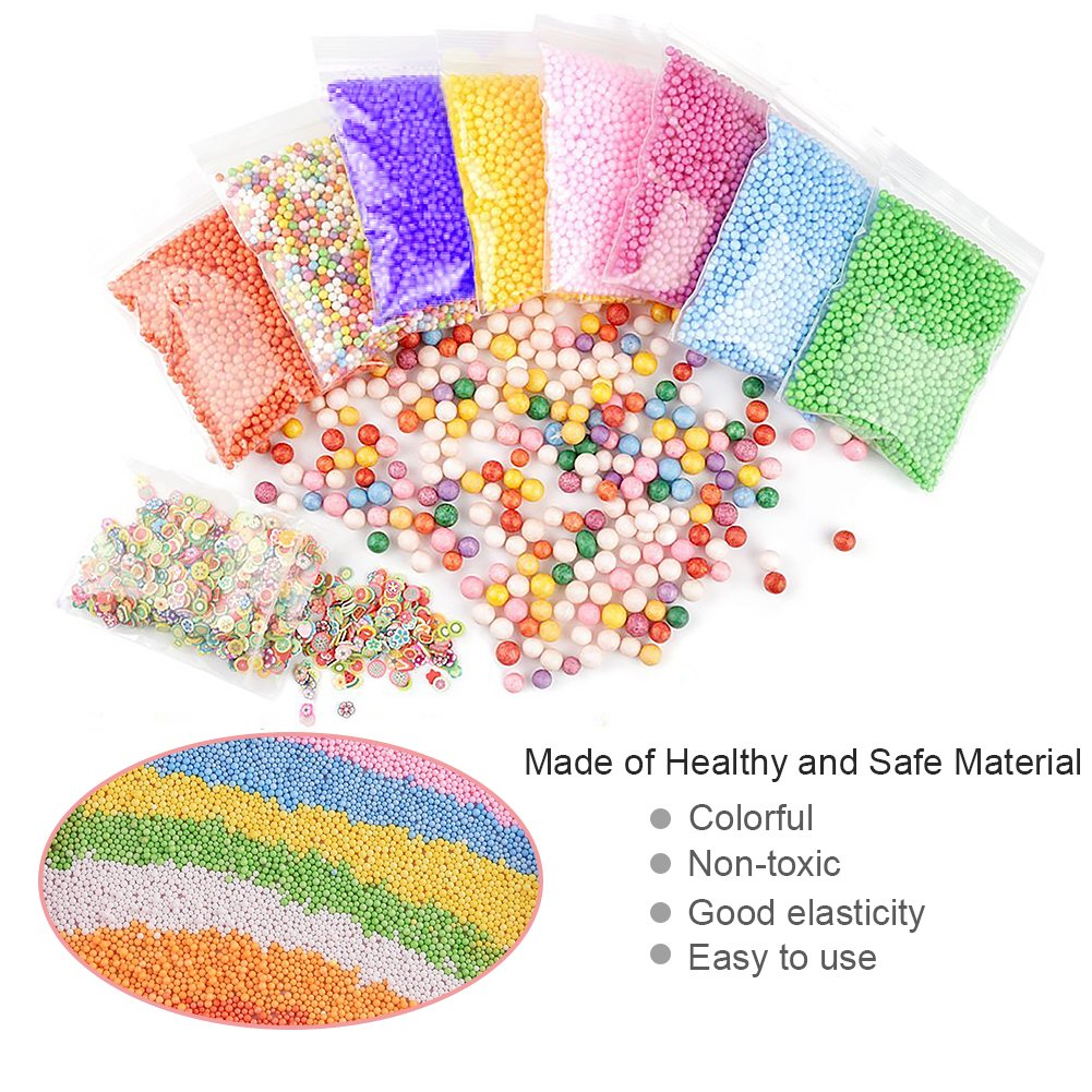 Assorted Colors Styrofoam Foam Balls 0.08-0.32 Inch Household School Arts Crafts Supplies Fits for Stick to Slime Micnaron 16 Packs Slime Foam Balls
