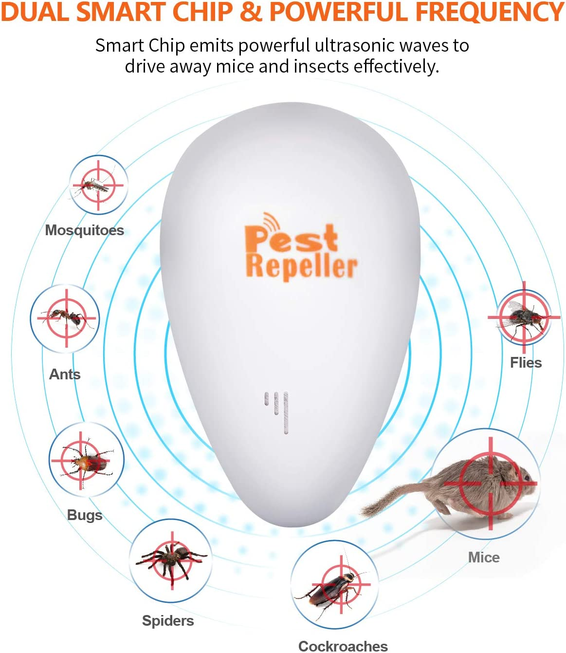 Ultrasonic Pest Repeller 6 Pack, 2020 Newest Electronic Pest Control, Pest Repellent Plug In Mice Repellent Indoor for Flea, Insects, Mosquitoes, Mice, Spiders, Ants, Rats, Roaches, Bugs, Non-Toxic : Garden & Outdoor
