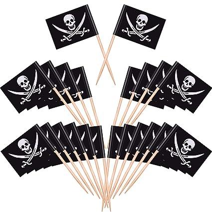 Blulu Cocktail Pirata Bandiere di Stuzzicadenti Topper per Torte per Cibo 69258290e850