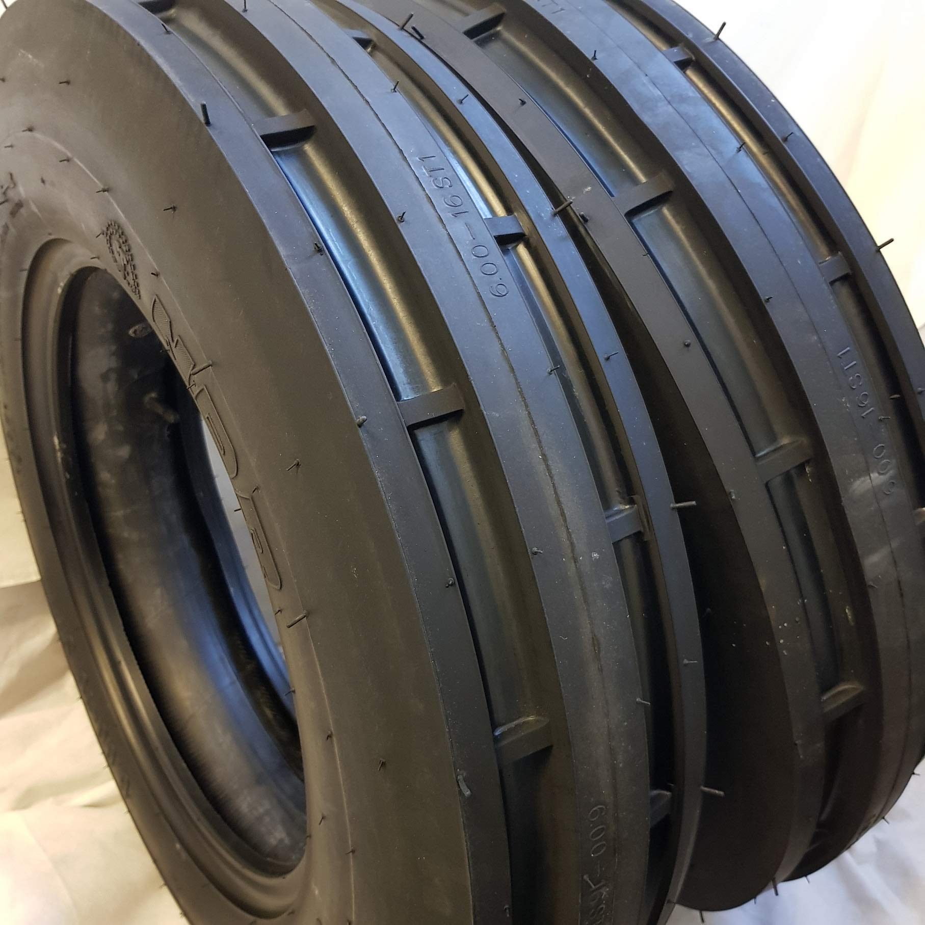 (2 TIRES + 2 TUBES) 6.00-16 8 PLY ROAD WARRIOR NDR ST-1 F2 3-Rib Farm Tractor Tire 6.00x16 by ROAD WARRIOR NDR (Image #1)