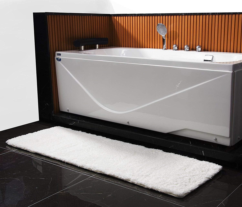 Soft Microfiber Long Bath Rug, Non-Slip Bathroom Runner Rug Shaggy Luxury Bath mat- Machine Washable 20