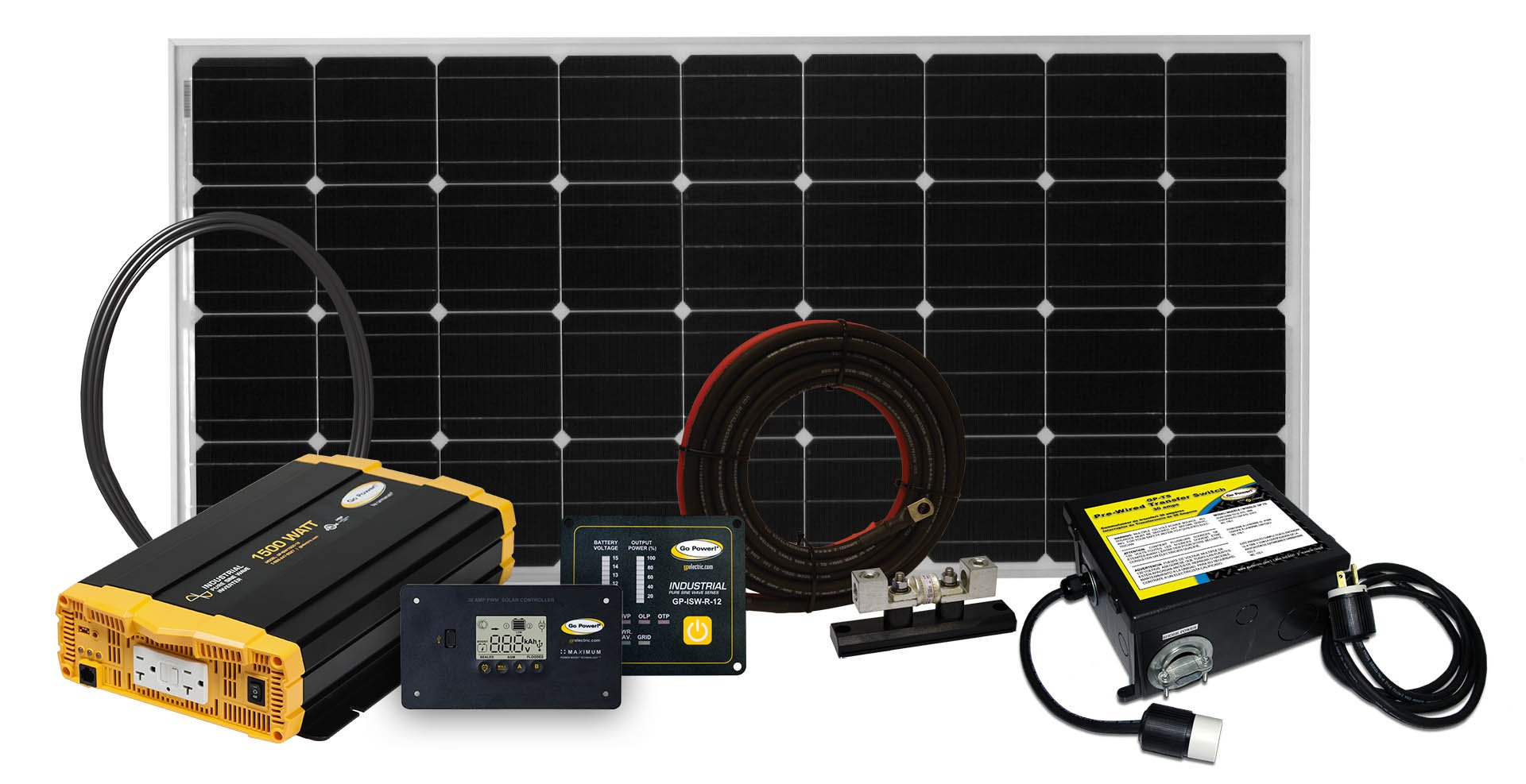 Go Power! Weekender SW Complete Solar and Inverter System with 160 Watts of Solar