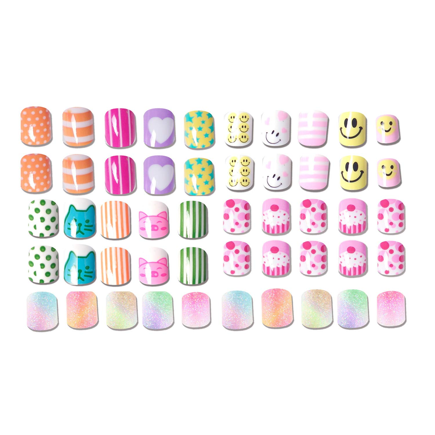 120 pcs 5 Pack Children Nails Press on Pre-glue Full Cover Glitter Gradient Color Rainbow Short False Nail Kits Great Christmas Gift for Kids Little Girls by SIUSIO