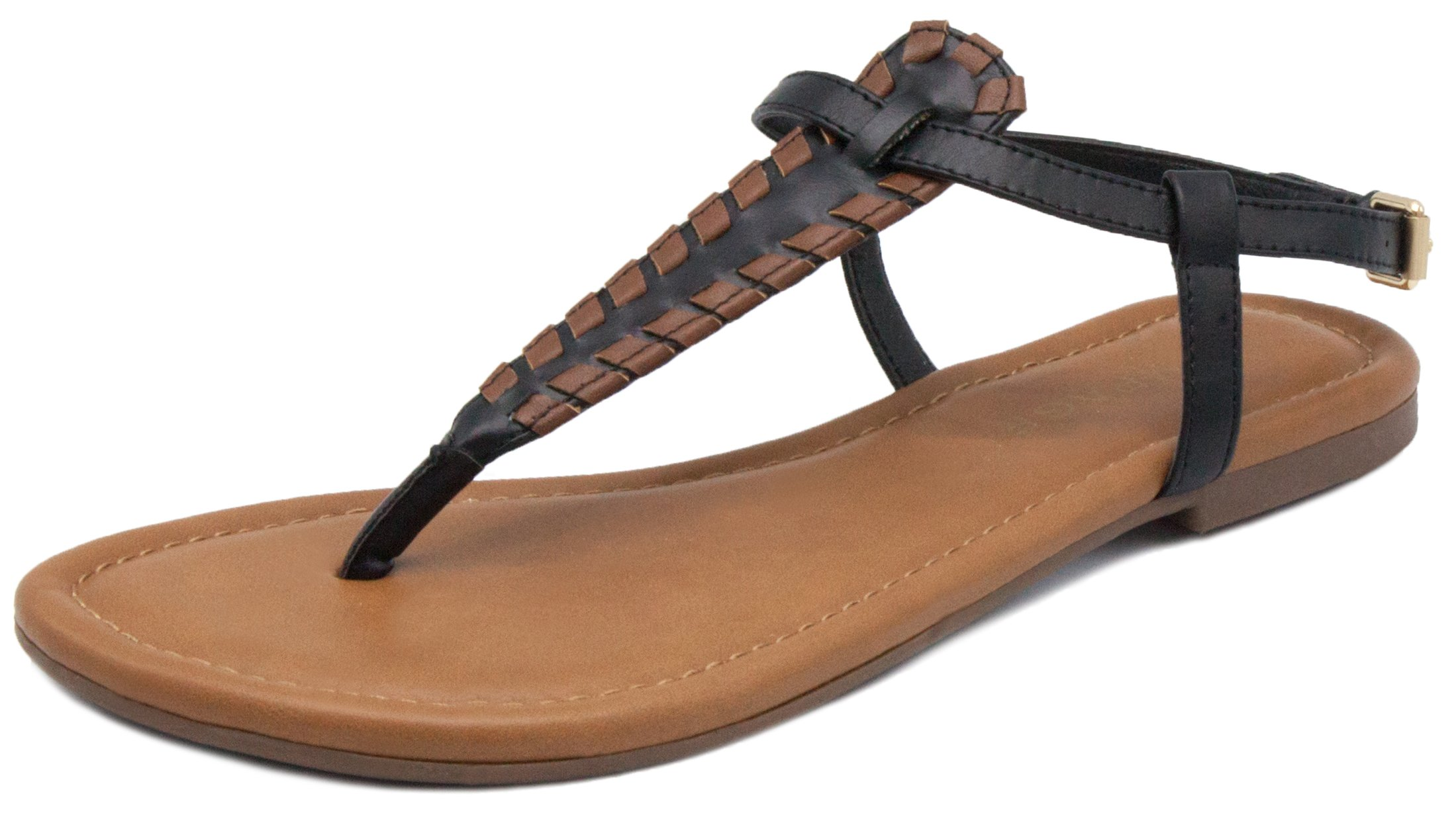 Rampage Women's Pashmina Flat Sandal Black Cognac Whipstitch 10