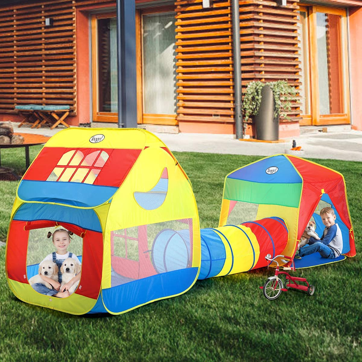 Chenway Pop Up Tunnel with Tent Foldable Childrens Tent Train Two-in-one Crawling Tunnel Tube Game House Tent