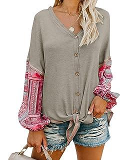 e4cbb211241 Valphsio Womens Boho Long Sleeve Henley Shirt V Neck Front Tie Button Down  Patchwork Blouse Tops