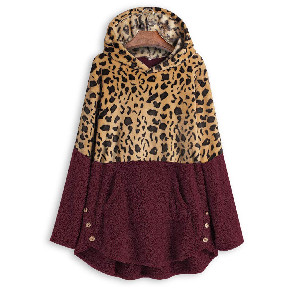 Plus Size Womens Hooded Leopard Coat Winter Fleece Long Sleeves Overcoat Sweatshirt Casual Sweater Top Blouse Hoodies M-5XL (Large, Wine) by Aritone - women clothes