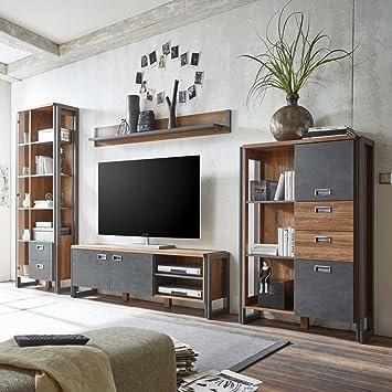 Pharao24 Wohnkombination In Eiche Dunkel Schiefer Grau Loft Design
