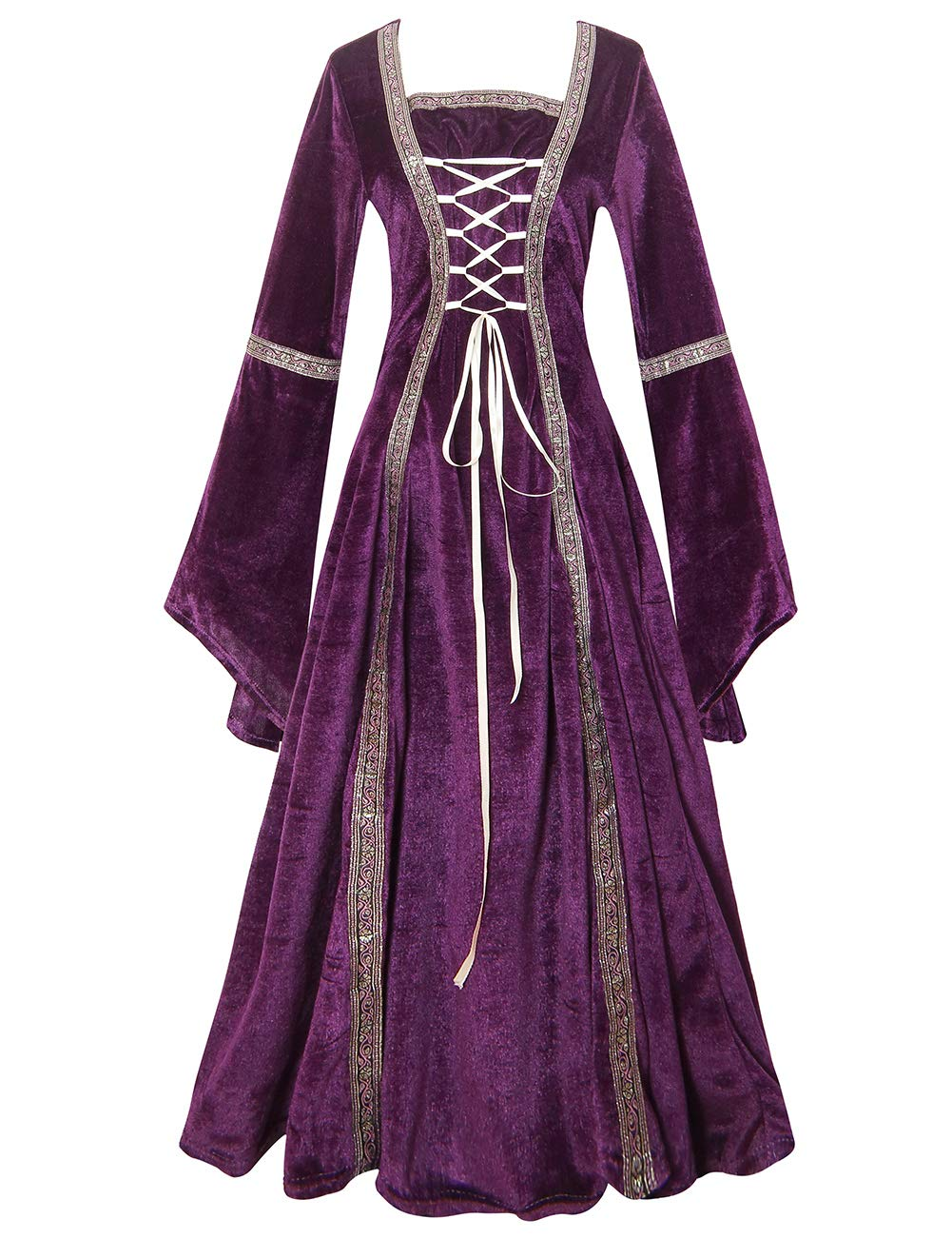 Colorful House Plus Size Medieval Dress, Renaissance Princess Costume for Women(Purple, X-Large)