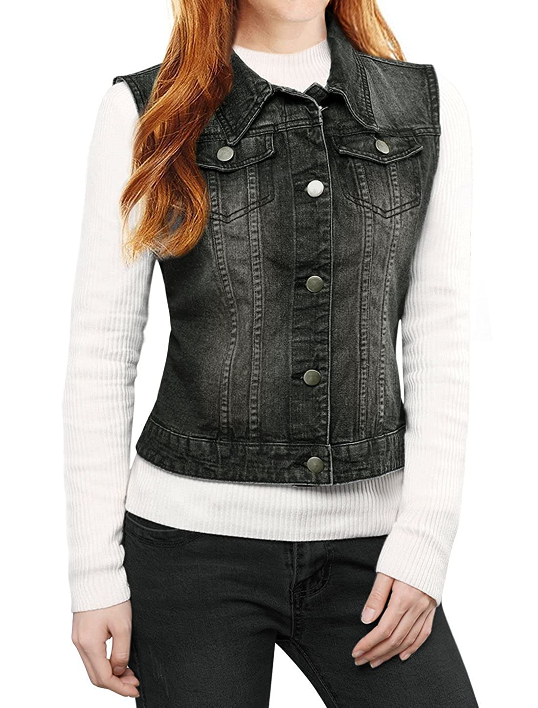 Allegra K Women's Buttoned Washed Denim Vest w Flap Pockets Black XL a16092300ux0405