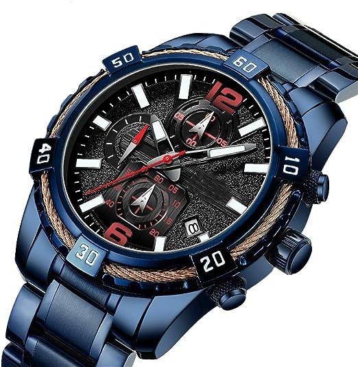 JJDB - Reloj Digital para Hombre (Sumergible, 3 ATM, Acero Inoxidable, con Aguja Luminosa, cronógrafo para Hombre): Amazon.es: Hogar