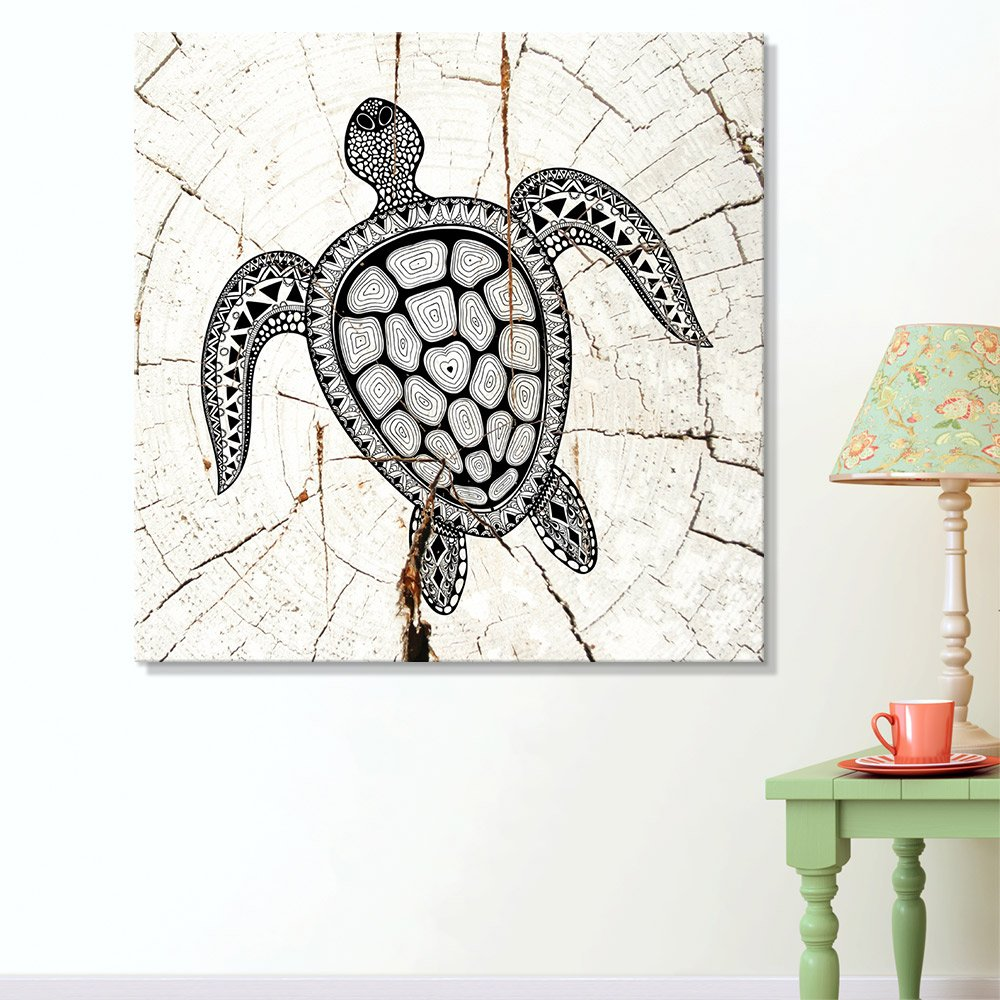 wall26 - Square Canvas Wall Art - Tribal Sea Turtle Wood Effect Canvas - Giclee Print Gallery Wrap Modern Home Decor Ready to Hang - 24x24 inches