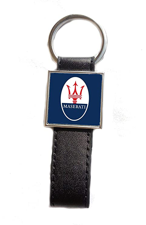 Llavero Acero/Piel sintética Logo Maserati (Fondo Azul ...