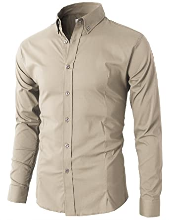 a9097d3c1eb H2H Mens Button Down Dress Shirts Slim Fit Long Sleeve with Contrast Band  Beige US XS