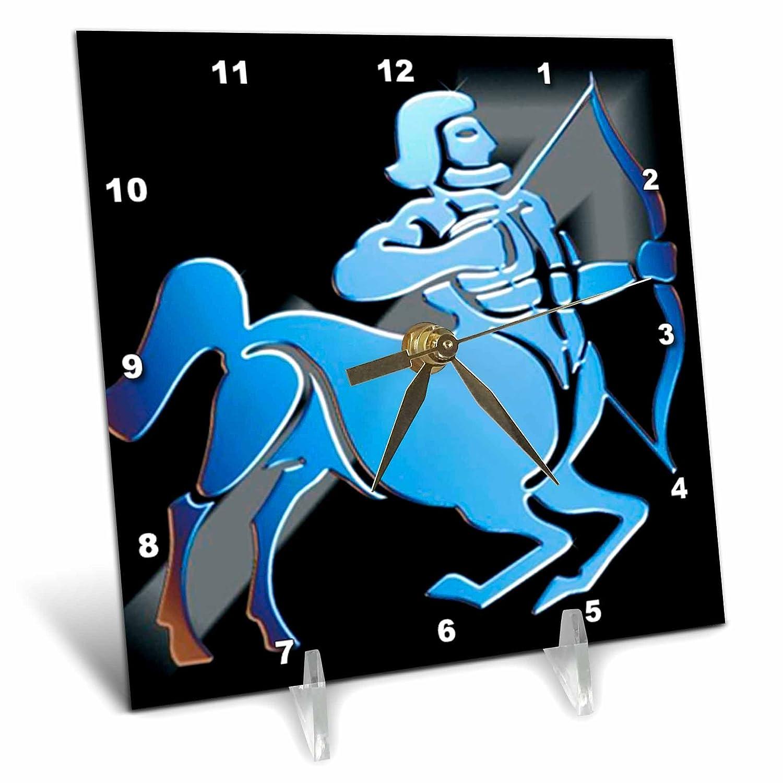 3dRose Sagittarius Zodiac Sign Desk Clock, 6 by 6-Inch
