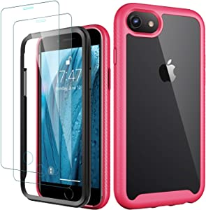 MERRO iPhone 8 Plus Case with Screen Protector(2 Pack),iPhone 7 Plus Case,Pass 16ft. Drop Tested Clear Cover with TPU Bumper Protective Phone Case for iPhone 7 Plus/iPhone 8 Plus Hot Pink
