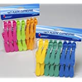 32 Plastic Clothespins with 6 Bright Assorted Colors