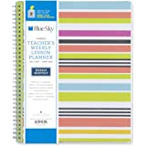 "Blue Sky 2017-2018 Academic Year Teachers Weekly Lesson Planner, Twin-Wire Bound, 8.5"" x 11"", Stripe Cover"