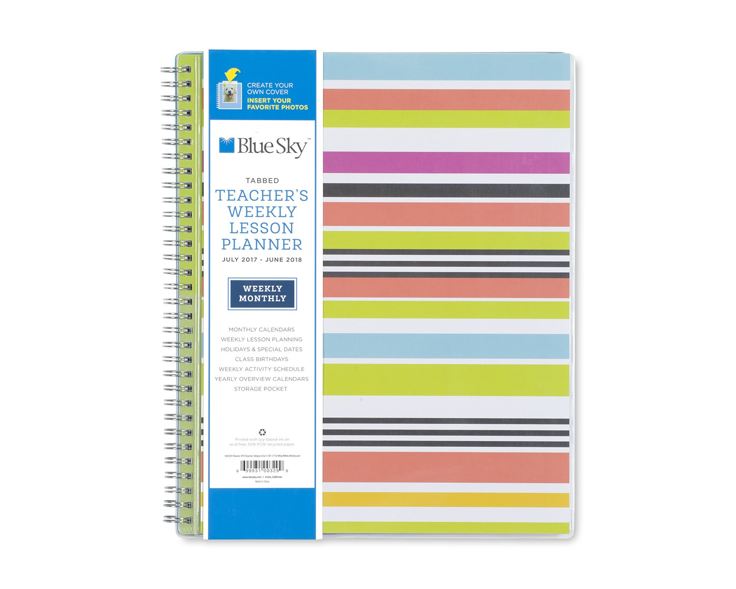 amazoncom blue sky 2017 2018 academic year teachers weekly lesson planner twin wire bound 85 x 11 stripe cover office products