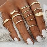 Gluckliy 12 Pcs Vintage Bohemian Stacking Rings Finger Knuckle Midi Ring Set for Women Girls