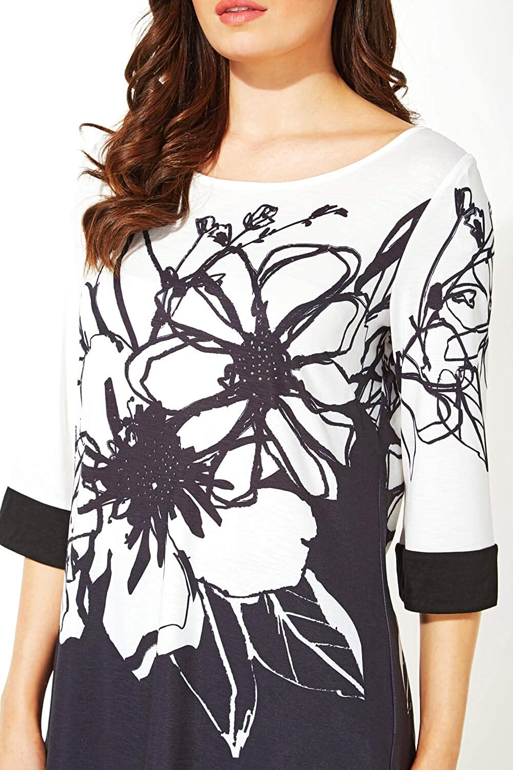 Ladies Everyday Smart Casual Work Round Neck 3//4 Length Sleeve Sequin Sparkle Embellished Jersey Stretch Comfy Party Tops Roman Originals Women Floral Print Contrast Top