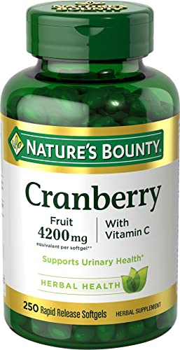 Cranberry Pills w Vitamin C by Nature s Bounty, Supports Urinary Immune Health, 4200mg Cranberry Supplement, 250 Softgels
