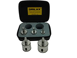 "Drilax™ 5 Pcs Diamond Drill Bit Set 3/4"", 1"", 1-1/4"", 1-1/2"", 1-3/4"" - Wet Cutting Ceramic, Porcelain Tiles, Glass, Fish Tanks, Marble, Granite, Bottles, Lot 5 Diamond Coated Core Hole Saws- Kitchen, Bathroom, Shower, Faucet Drilax052045"
