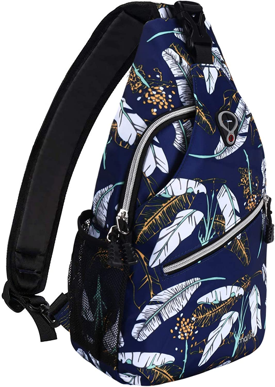 MOSISO Sling Backpack,Travel Hiking Daypack Pattern Rope Crossbody Shoulder Bag, Blue Base White Feather