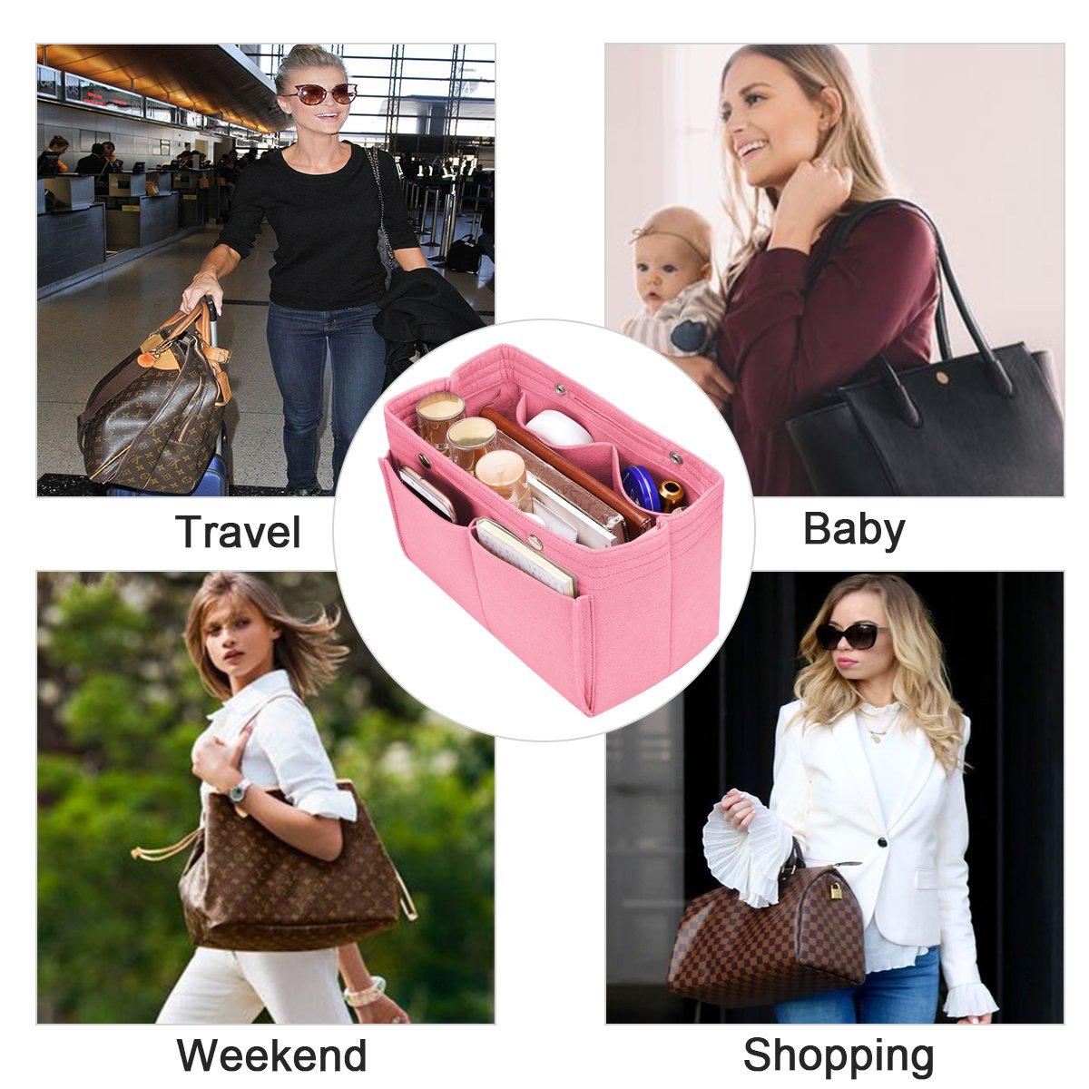 6 Colors Neverfull Fit LV Speedy 25-40 Handbag Organiser Felt Insert Purse Organiser Bag in Bag 3 Sizes Large, Gray Diaper Bag Organiser