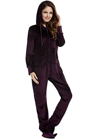 HOTOUCH One Piece All in One Jumpsuit Onesies Women Cotton Mix Romper Hooded Pyjamas Deep purple S