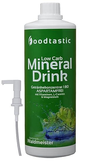 Foodtastic Low Carb Mineral Drink Waldmeister, 1000ml Flasche mit ...