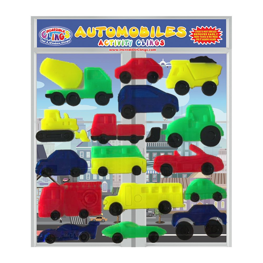 Automobiles Thick Wall and Window Gel Clings - Sticky Reusable and Removable Jelly Gel Clings for Kids – Cars, Trucks, and More Vehicles