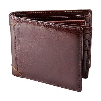 b5315e15e08a Rakuka Men's Leather Wallet, Bi-fold Wallet for Men with Coin Pocket, ID