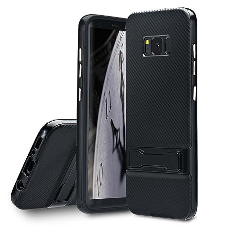 Lincivius Funda Samsung S8, Fundas Galaxy S8 Carcasa [Carbon Stand] Case Silicona con Muleta y Effecto Carbono Anti Golpes Cover con Conturno Rigido - ...