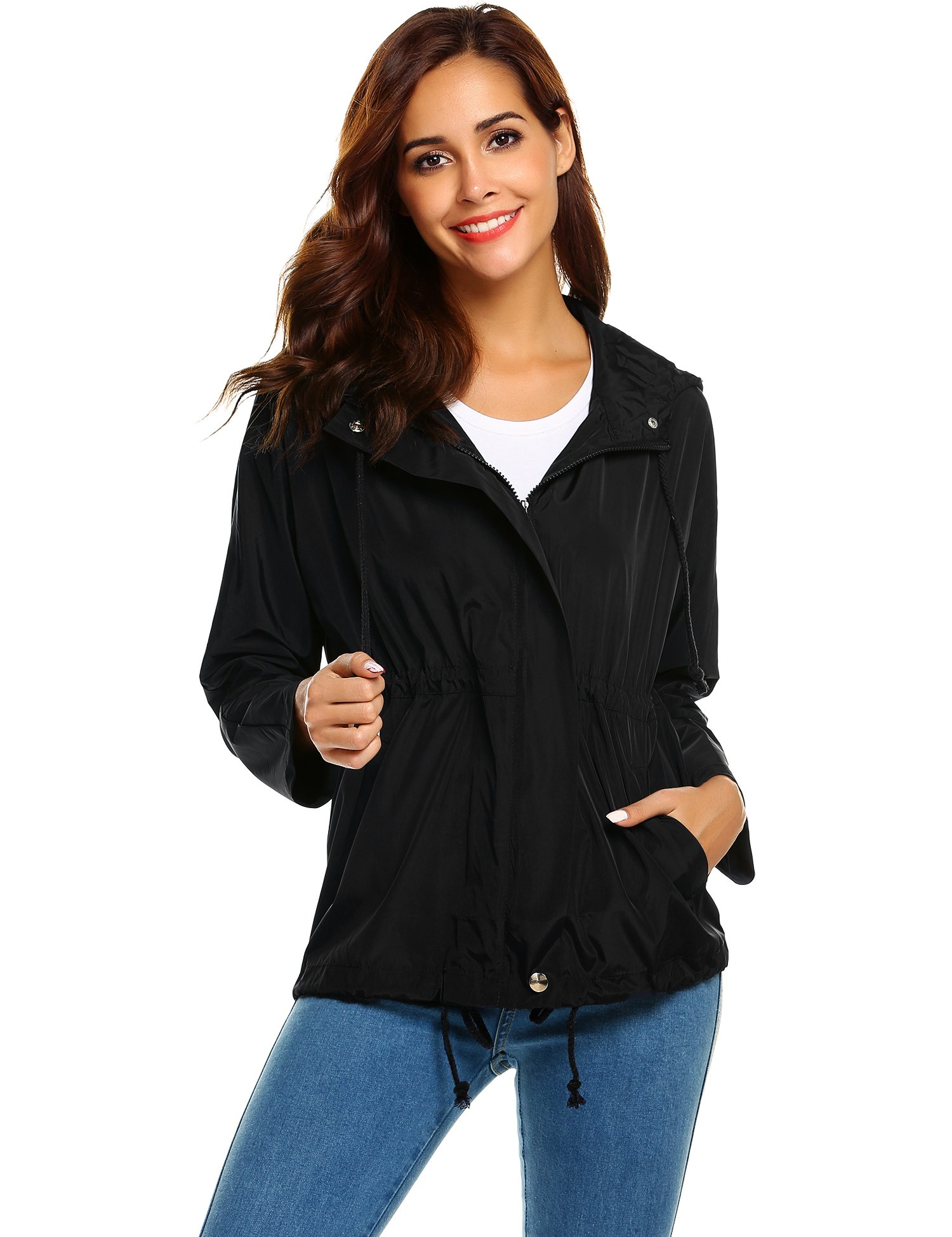 Zeagoo Women's Lightweight Waterproof Rain Coat Hooded Active Outdoor Windbreaker Jacket, Black,Medium