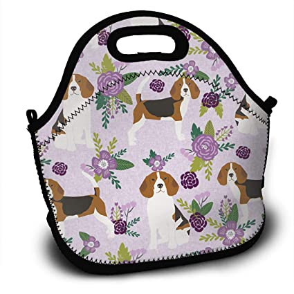 a62e76583e8 YAIC ULI Beagle Dog Coordinates Flowers Portable Carry Insulated Lunch Bag  - Large Reusable Lunch Tote