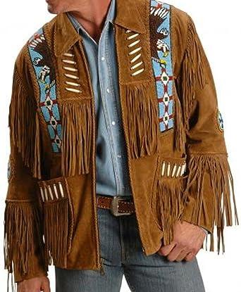 Coats & Jackets Men Herren Western Western Cowboy Lederjacke